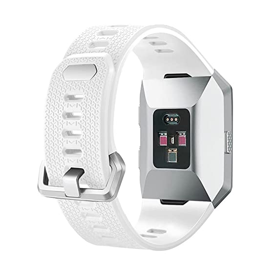 SHareconn Fitbit Ionic Band, Adjustable Sport Silicone Accessory Band Fitbit Ionic smartwatch, White (6.7