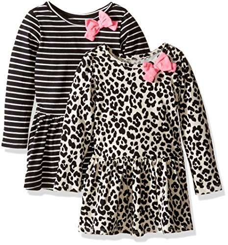 The Children's Place Toddler Girls' Casual Dresses (Pack of 2), Stripe/Animal Print 7002, 2T Toddler Animal Print