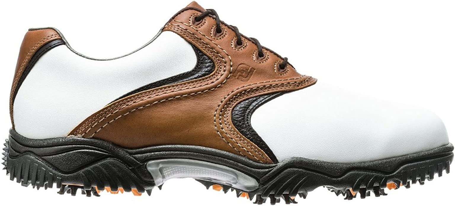 Amazon Com New Footjoy Contour Series White Brown Golf Shoes Mens Size 10 Wide Golf