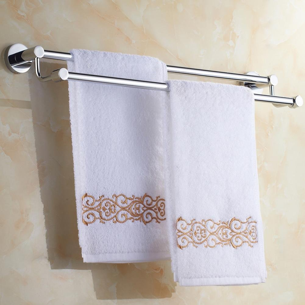 60%OFF YONG Thickened stainless steel towel rack double rod 50cm-70cm towel bar , 70cm