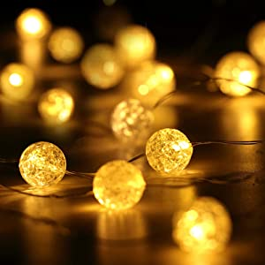 HuTools Globe String Lights for Bedroom Crystal Crackle Ball Lights 10FT 30 LED Warm White Battery Operated Fairy Hanging Lights Perfect for Indoor, Outdoor, Wedding, Christmas, Valentines Day