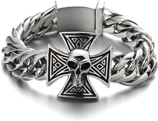 Biker Gothic COOLSTEELANDBEYOND Mens Large Black Steel Curb Chain Bracelet with Fleur De Lis and Skull Polished