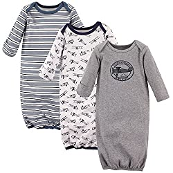 Hudson Baby 3 pack infant gowns are ideal for everyday use, and the expandable neck opening design makes dressing your baby easy. Made of 100 percent cotton these gowns come with coordinating colors and designs. Elastic at the bottom helps to ensure ...