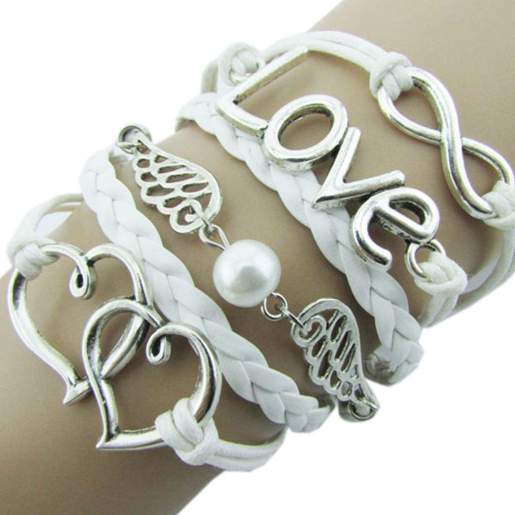 Molyveva Handmade Leather Rope Wrap Bangle Bracelets Infinity Love Peace Series Best Friend Bracelets
