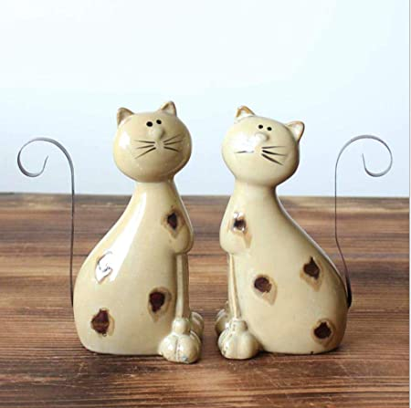 stauely Cambio de Horno de cerámica artesanías para Gatos casa Pareja Adornos artesanales para Gatos: Amazon.es: Hogar