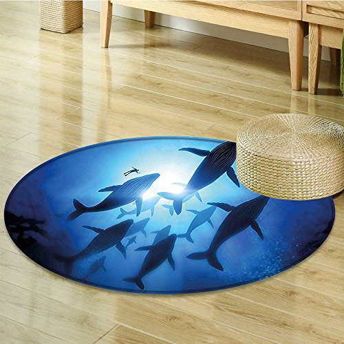 (Small round rug Carpet Whale Underwater Humpback Whale Migration at the Heart of the Diving Discovery Theme door mat indoors Bathroom Mats Non Slip-Round 35