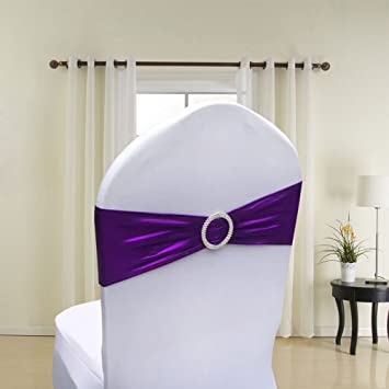 50PCS Spandex Chair Sashes Bows Elastic Chair Bands With Buckle Slider  Sashes Bows For Wedding Decorations