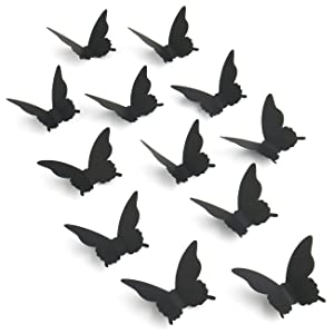 Luxbon 100Pcs 3D Paper Black Matt Effect Butterfly Wall Stickers Removable Butterflies Decor Wall Decals for Livingroom Home Nursery Girls Bedroom DIY Wall Decorations