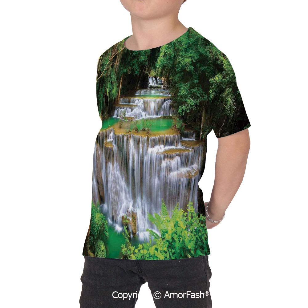 PUTIEN Waterfall Crew Neck for Ultimate Comfort T-Shirt,Stunning View of W
