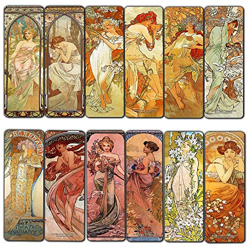 - Creanoso Vintage Cards - Alphonse Mucha Art Nouveau (60-Pack) - Inspirational Art Impressions Bookmarker Cards - Premium Gift Collection for Men & Women, Teens - Page Clipper - Cool Art