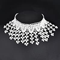ERAWAN Chic Tassel Lace Flower Choker Necklace Victorian Gothic Collar Necklace Pendant EW sakcharn (White)