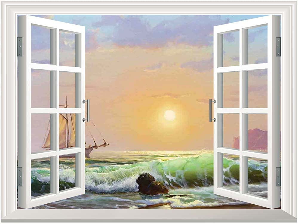 Marine Canvas Wall Mural,Sailboat on The Sea Sunset and Forceful Waves Rocky Shore View Artwork Canvas Poster Wall Decor,Adhesive Canvas Painting,Pale Blue Green Peach,24