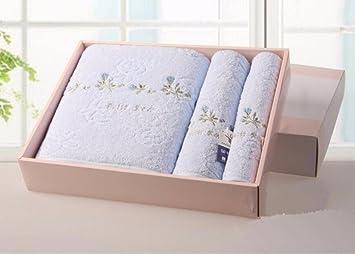 Juego de toallas bordadas de algodón tres cuadrados toalla toallas de baño toallas de baño toallas de playa azul: Amazon.es: Hogar