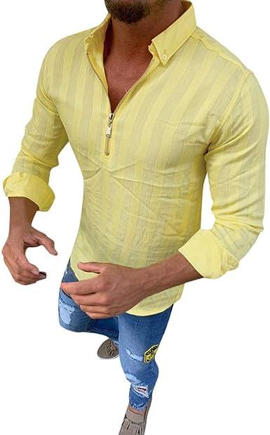 MEIbax Moda Ocio Camiseta de Rayas para Hombre Camisa Manga Larga Hombre Cremallera Tops de Hombre Slim Fit Solapa botón Jersey de Hombre Ropa Verano Hombre Blusa Ropa de Hombre: Amazon.es: Ropa
