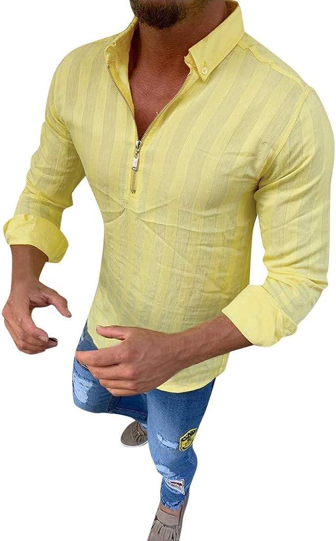 Camiseta de Manga Larga para Hombre Camisa con Cremallera Blusa Top: Amazon.es: Ropa y accesorios
