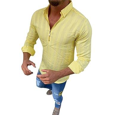 SoonerQuicker Camisa de Hombre T Shirt Hombre de Rayas de Manga ...