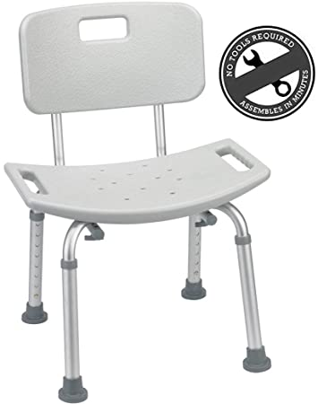 Medical Tool Free Spa Bathtub Adjustable Shower Chair Seat Bench With  Removable Back
