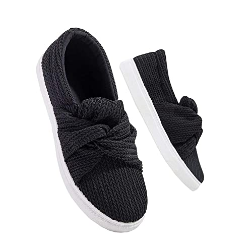 7854ecbe8f765 LAICIGO Women's Fashion Sneakers Knitted Twist Ruched Knot Crisscross  Slip-on Round Toe Flatform Shoes