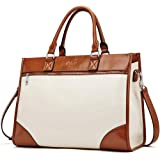 CLUCI Womens Briefcase Oil Wax Leather 15.6 Inch Laptop Business Vintage Ladies Large Capacity Shoulder Bag Beige with…