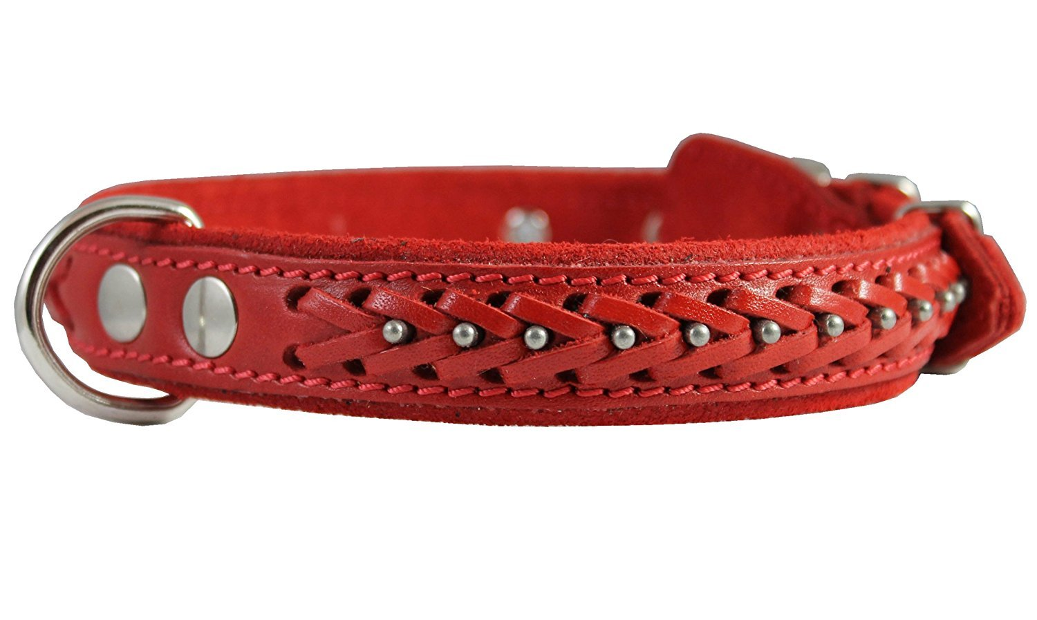 Genuine Leather Braided Studded Dog Collar Red 1 Wide. Fits 14-18 Neck. Brittany Collie Harrier