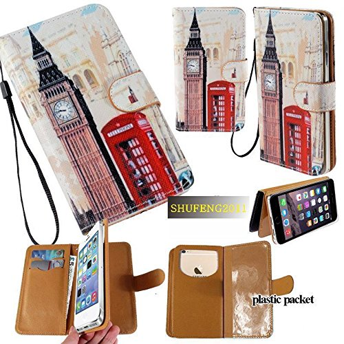 Universal PU Leather Purse/Clutch/Pouch/Wallet Fits Apple Samsung LG Motorola etc. Women's Cute Wristlet Strap Flip Case London Big Ben - Medium. Fits The Models ()