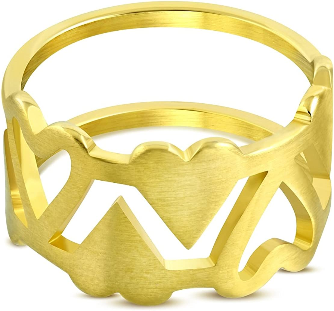 Stainless Steel Gold Color Plated Matte Finished Open Love Heart Link Fancy Ring