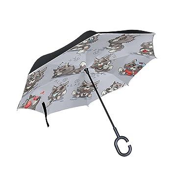 ALAZA doble capa puede Cartoon Wolf pegatinas emoticonos paraguas coches Reverse resistente al viento lluvia paraguas