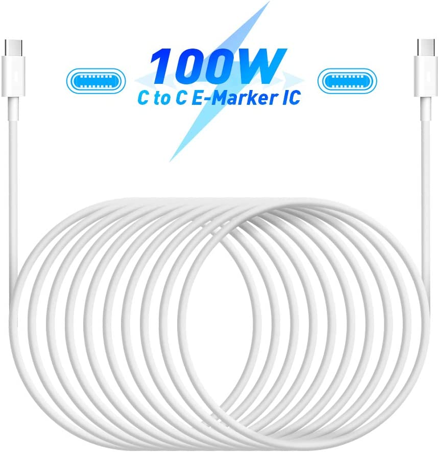 USB C to USB C Fast Charging Cable 100W 5A USB C Cable 6.6FT/2M Long Type-C Cable Power Delivery PD Charging Cord Compatible with Mac Book/pad, Samsung Galaxy, Huawei, Switch,Type-C Devices/Laptops