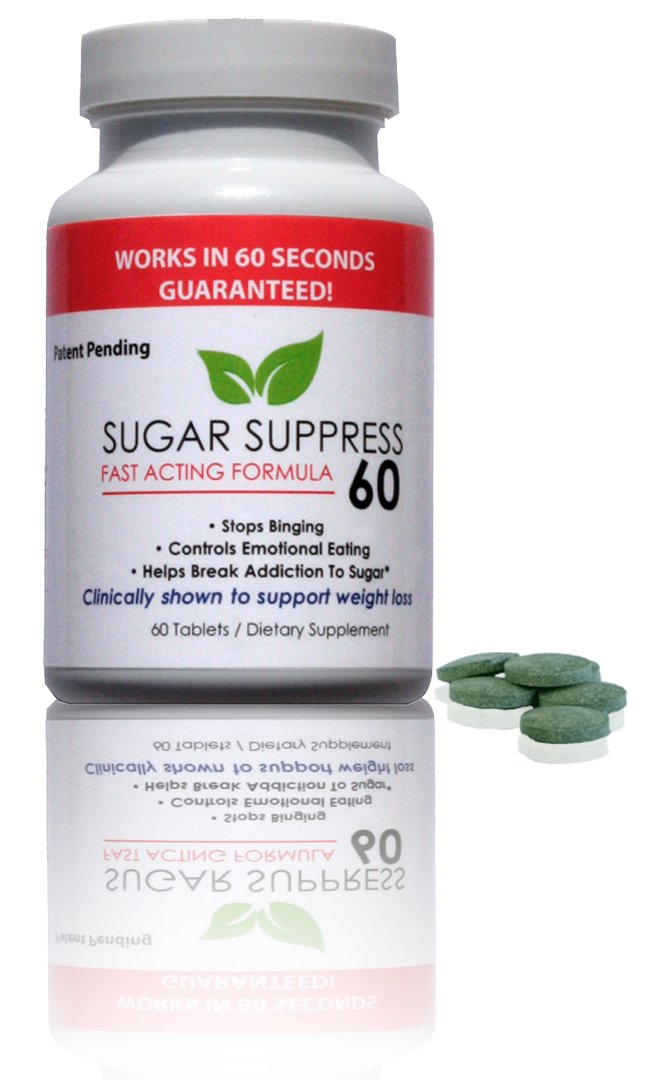 SUGAR SUPPRESS 60 - Stops Sweet Craving and Blocks Sugar in 60 Seconds Guaranteed - Controls Appetite - 60 Tablets by Sugar Suppress 60