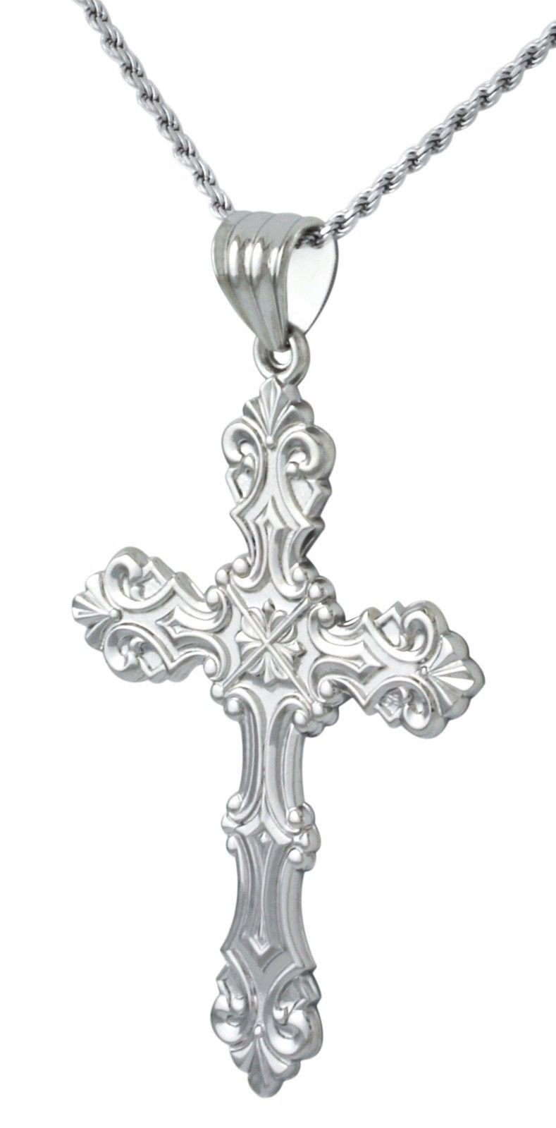 New Large 2in 0.925 Sterling Silver Ornate Cross Religious Pendant 3.0mm Figaro Necklace, 20'' by US Jewels And Gems (Image #1)