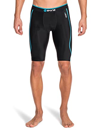 dabff4631b Skins Men's A200 Compression Half Tights, Black/Neon Blue, X-Small: Amazon. in: Sports, Fitness & Outdoors