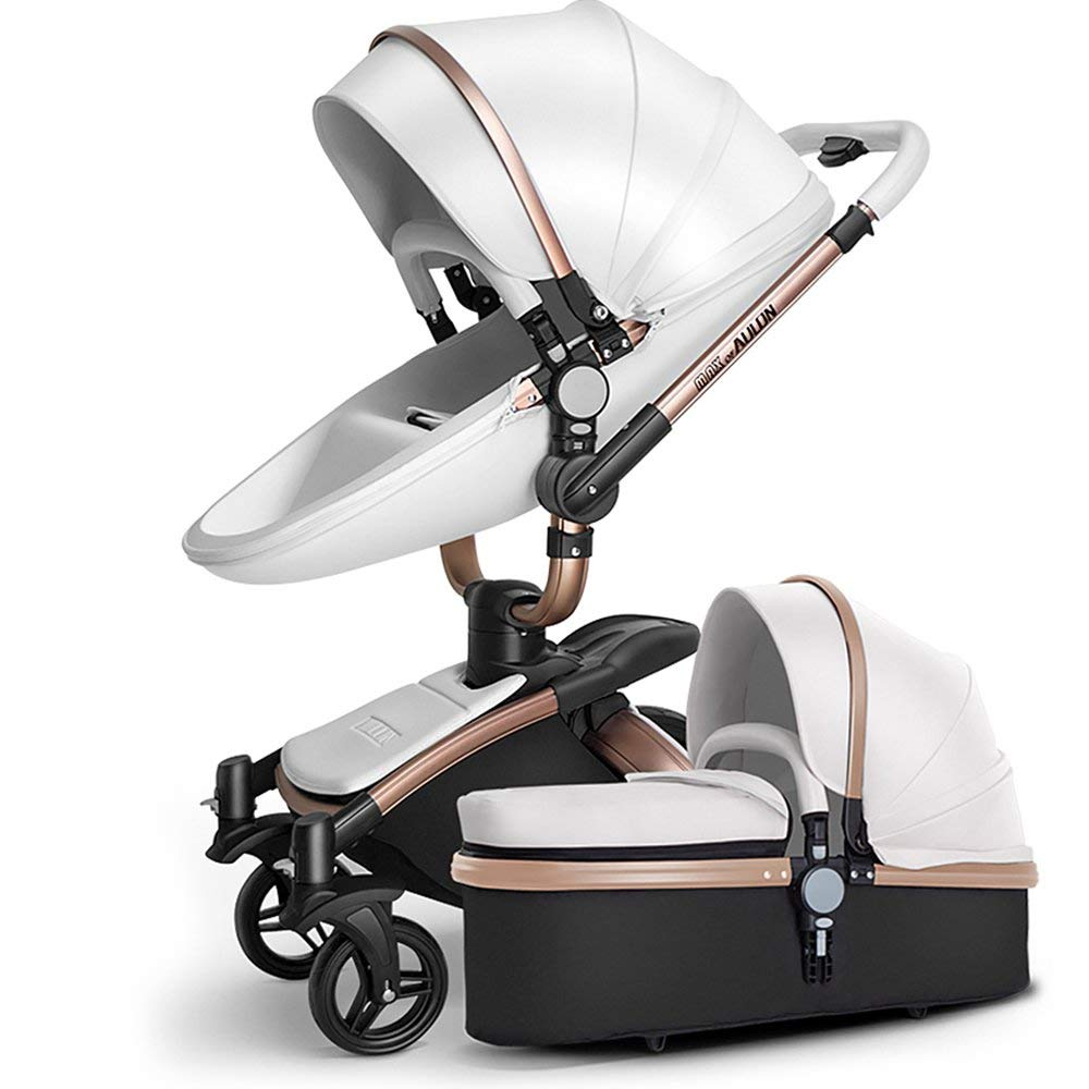 SpringBuds Baby Stroller Bassinet Carriage Combo 360 Rotation 3-in-1 Shock-Resistant High Landscape Luxury Pram Stroller for Newborn and Toddler -White