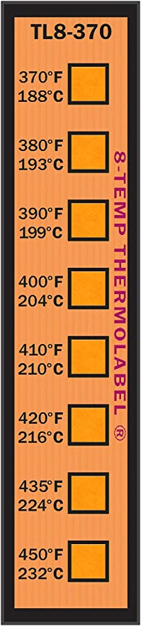 8-Temp Thermolabel 370-450/°F Temperature Label for Metal Coating Powder Coating Pack of 16 Labels