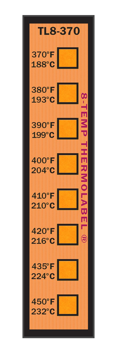 8-Temp Thermolabel 370-450°F Temperature Label for Metal Coating Powder Coating Pack of 16 Labels