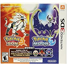 Pokemon Sun and Pokemon Moon Dual Pack - 3 Bonus First Partner Pokemon Figures (Nintendo 3DS)