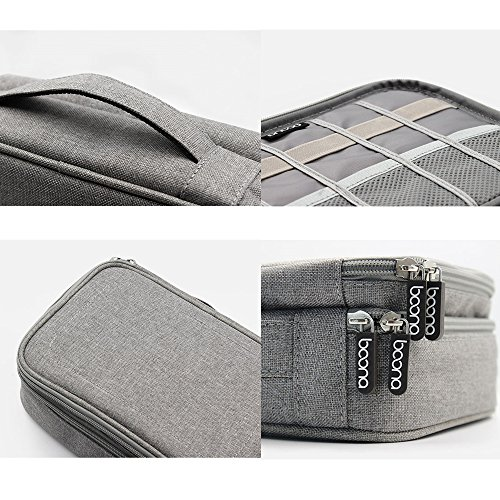 Honeystore Travel Gear Organizer Electronics Accessories Storage Bag Double Layers Travel Gadget Organizer Case for iPad Mini, USB Cable, Plug, Flash Drive, Power Bank, Earphone, Cards and More Gray by Honeystore (Image #7)