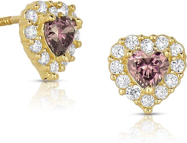 14K Yellow Gold Stud Heart Shape CZ Stud Earrings
