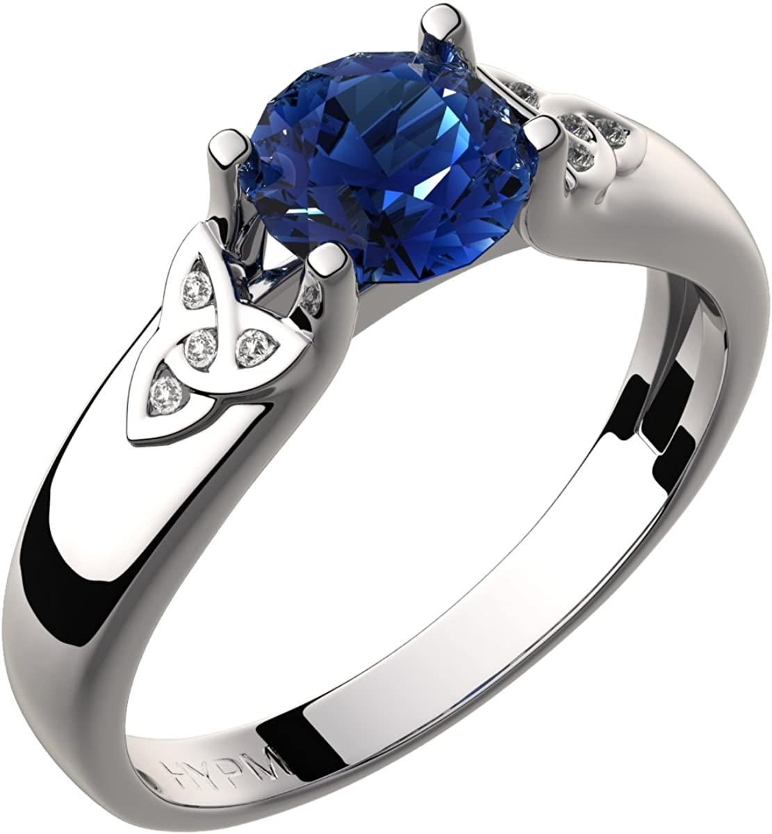 Amazon.com: GWG Women's Rings Gift Sterling Silver Celtic Ring Sapphire  Blue Zircon Stone and Trinity Knots Adorned with Crystals for Women: Jewelry
