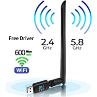 USB WiFi Adapter 600mbps Free Driver USB 3.0 WiFi Dongle Wireless Network Adapter with 5dBi Antenna for PC/Desktop, Dual Band 2.4GHz/5.8GHz LAN Card Network Card,Support Windows 10/8/8.1/7 Mac OS