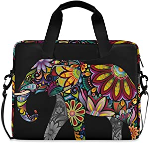 ALAZA Cheerful Indian African Elephant Boho Laptop Case Bag Sleeve Portable Crossbody Messenger Briefcase w/Strap Handle, 13 14 15.6 inch