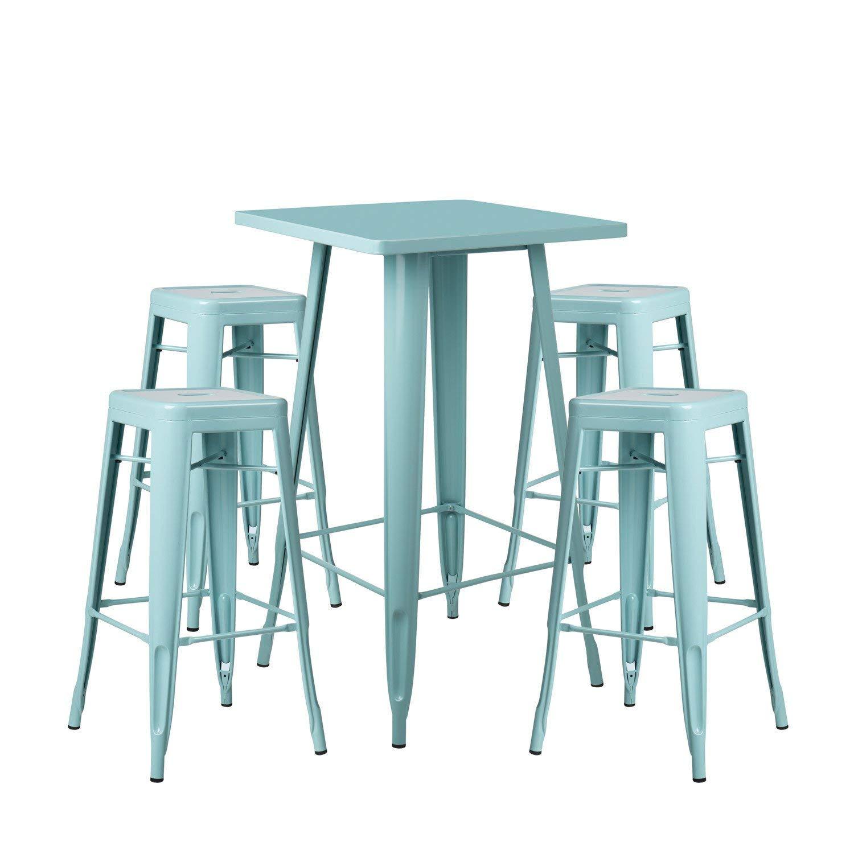 SKLUM Lot de Table Haute LIX /& 4 Tabourets Hauts LIX Bleu /Île Paradis Plus de Couleurs