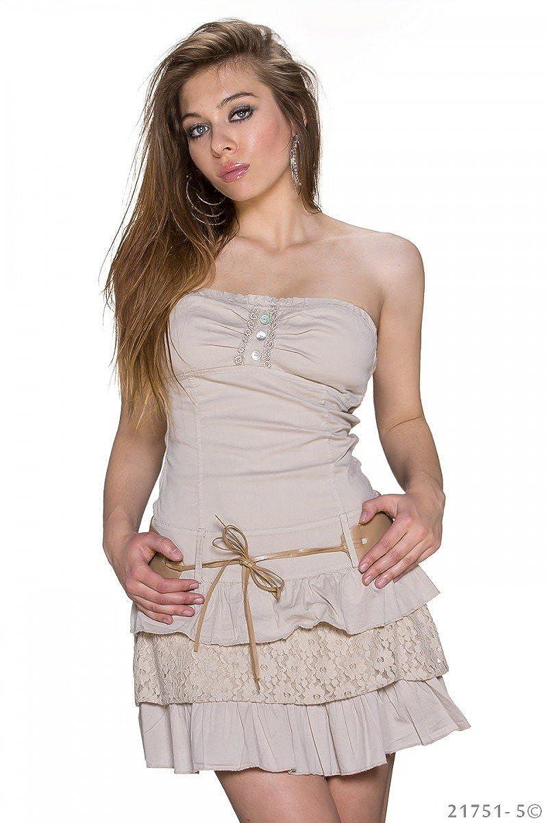 Bandeau Mini Kleid Sommerkleid Volants Baumwolle ...
