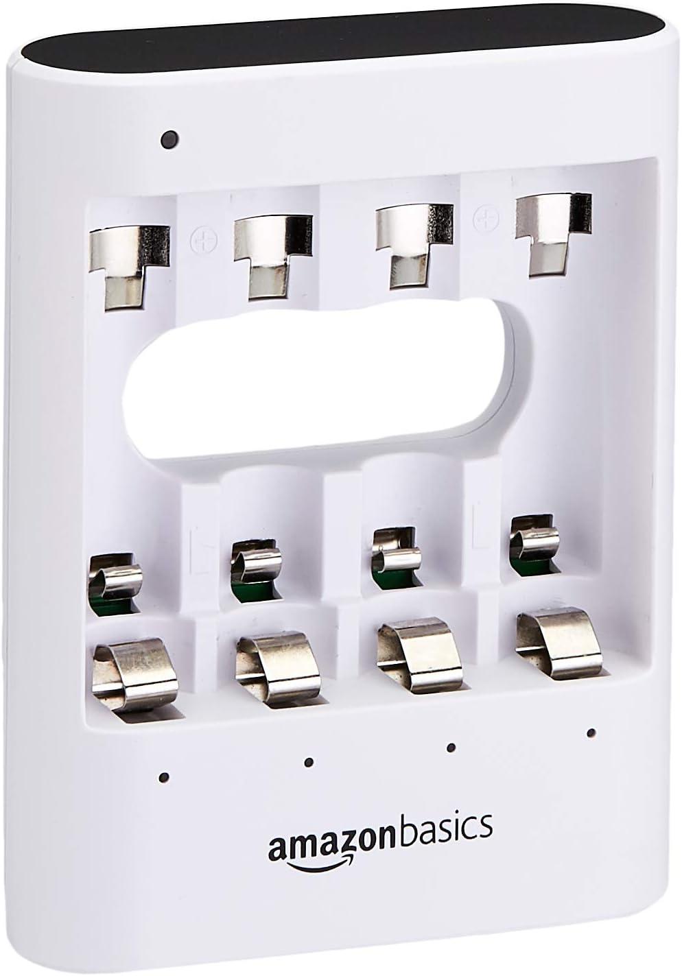 AmazonBasics - Cargador de pilas USB rápido, color blanco