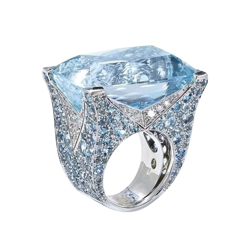 Himpokejg Women's Fashion Sparkling Cubic Zirconia Ring Bride Wedding Engagement Party Jewelry Gift - Blue US 10