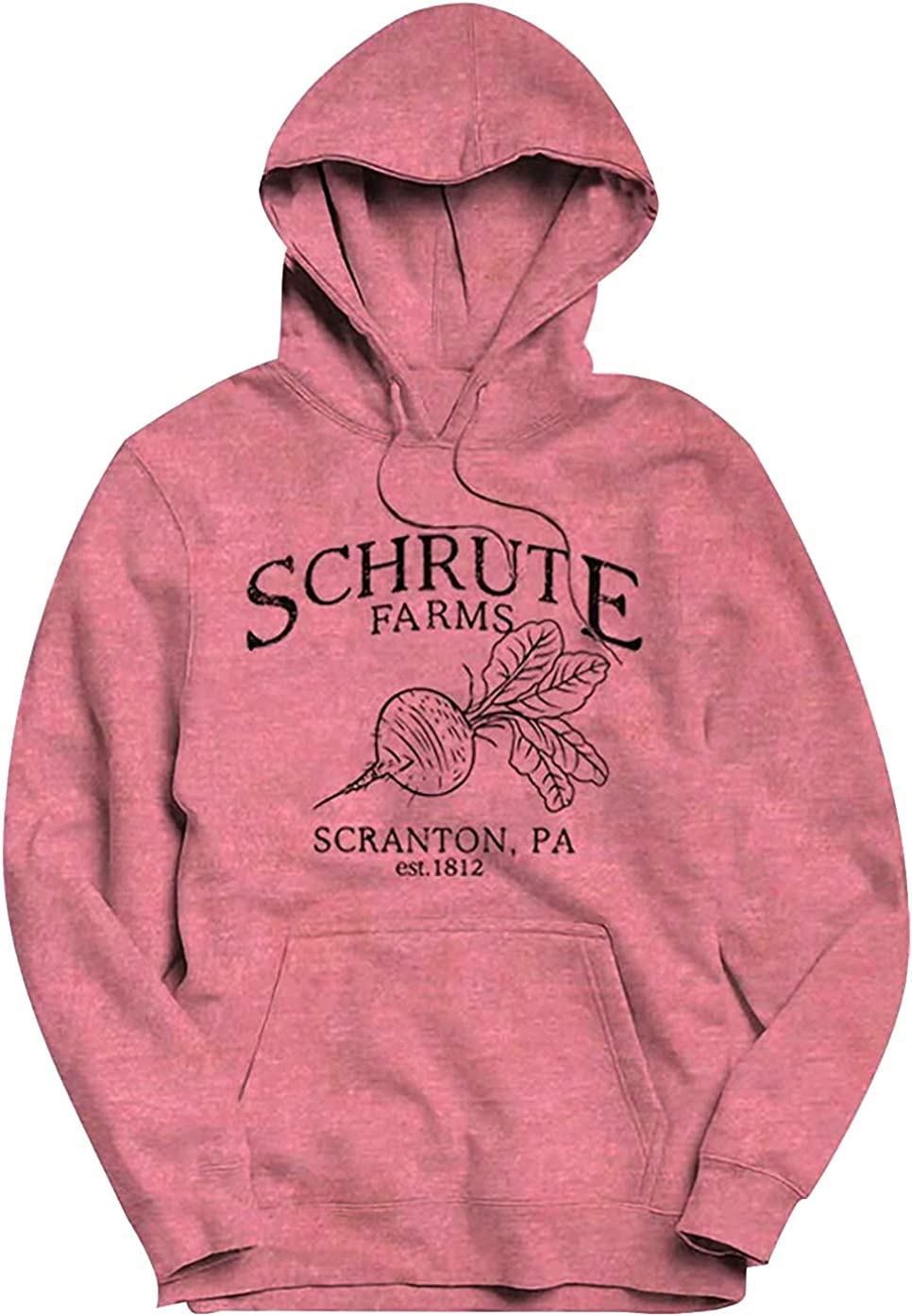 Schrute Farms Hooded Sweatshirt Women Beet Graphic Drawstring Lightweight Sweater Pullover Top The Office Fan