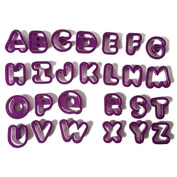 TOYMYTOY Letras del alfabeto inglés para hornear moldes galletas cortadores diy juguetes 26 unids (púrpura): Amazon.es: Juguetes y juegos