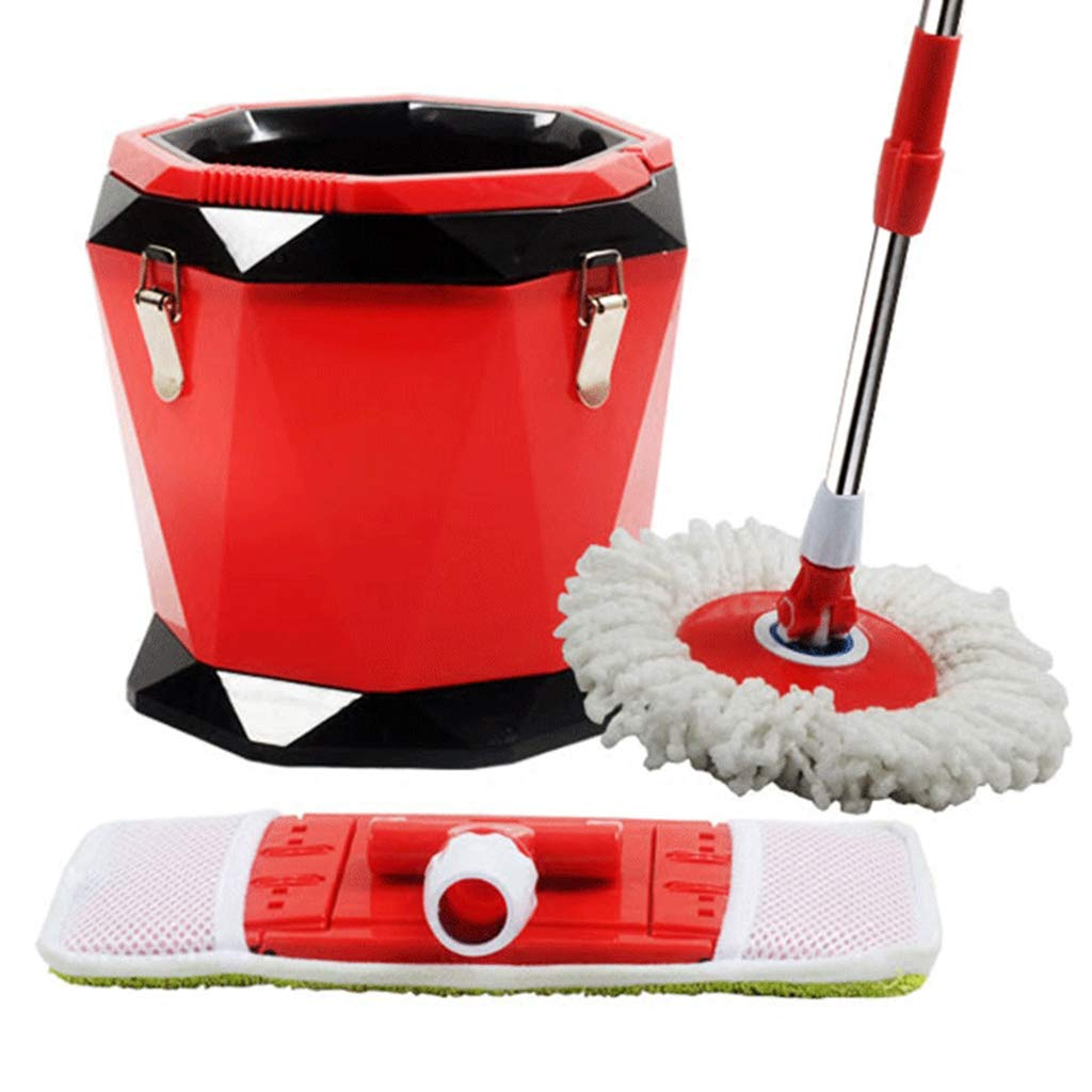 Hand Pressing Rotary mop Flat dragging Water Single Bucket mop Bucket Rotating Dual-use mop Cleaning Ground Suitable for Home Classroom Office,Red