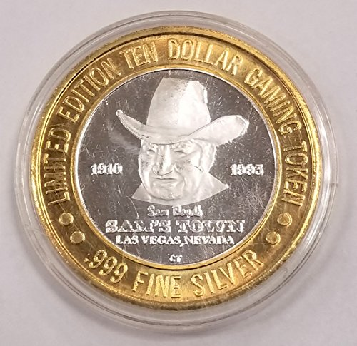 1995 Sam's Town Hotel & Casino Silver Casino Token $10 About Uncirculated