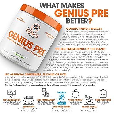 Genius Pre Workout Powder – All Natural Nootropic Preworkout & Caffeine  Free Nitric Oxide Booster w/Beta Alanine & Alpha GPC   Boost Focus, Energy  &