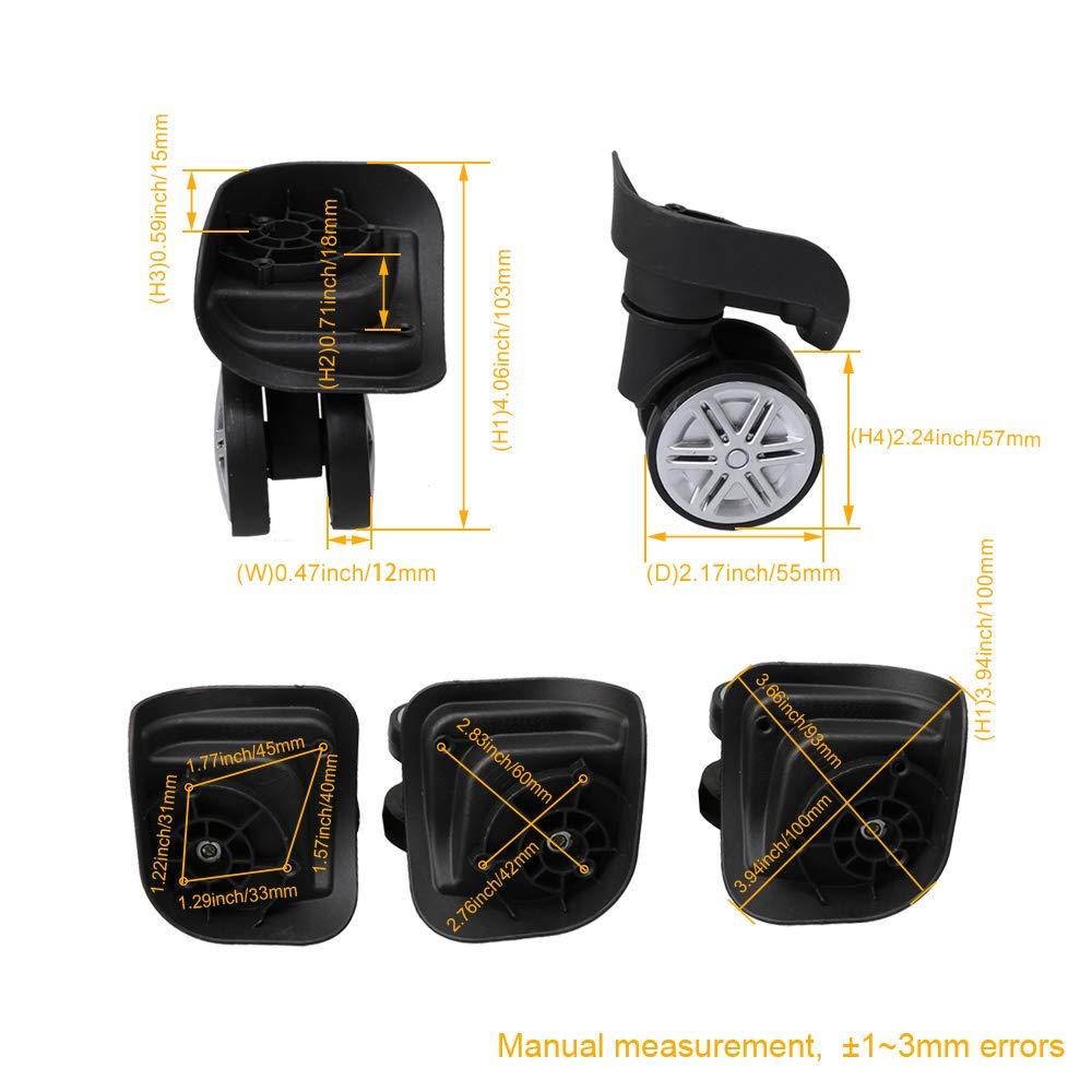 Yibuy Dia 6cm Black Luggage Suitcase Universal Wheel 1 Left /& 1 Right